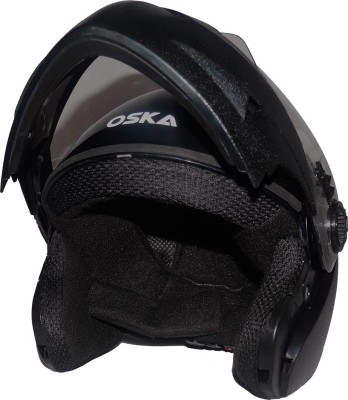 Steelbird SB-41 Oscar Classic Oska Flip up Helmet in Black with Plain visor Motorbike Helmet(Black with Plain Visor)