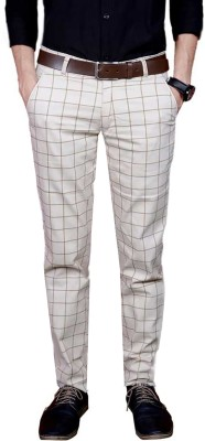 FUBAR Slim Fit Men Cream Trousers