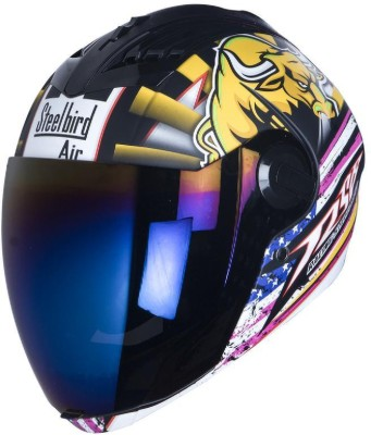 Steelbird AIR SBA-2 Horn Motorbike Helmet(Matt Black, Yellow)
