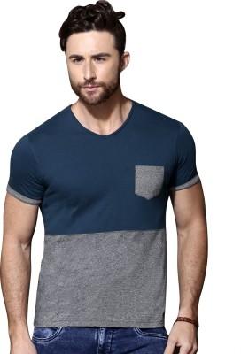Maniac Self Design Men Round Neck Dark Blue T Shirt