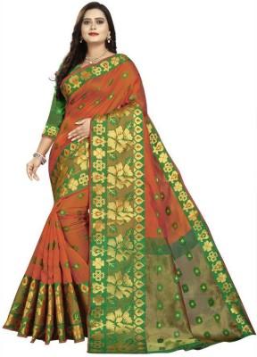 DAISY PETAL CREATION Woven Fashion Cotton Silk Saree(Orange)