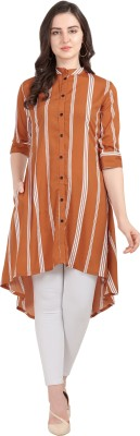 Serein Casual Regular Sleeve Striped Women Orange Top