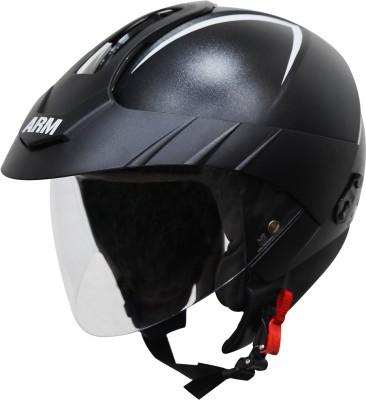 Steelbird SBH-33 ARM Open Face Helmet with Peak Cap in Dashing Black Motorbike Helmet(Black with Clear Visor)