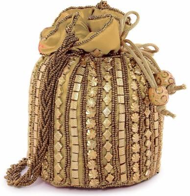 Fancy Walas Presents Designer Rajasthani Style Royal Clutch Silk Potli Batwa Bag with Beads Work Bridal Purse with Gota Patti Pottly Purse Women handbag Fancy Potli Bags Potli