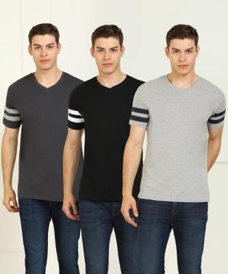 Billion Solid Men V Neck Black, Grey T-Shirt(Pack of 3)