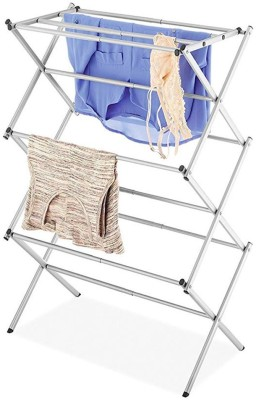 House Of Sensation Steel Wall Cloth Dryer Stand 3-Tier Folding Anti-Rust Compact Steel Clothes Drying Rack ((W)43Cm X (L) 70.5 Cm x (H) 105.41 Cm) - White(5 Tier)
