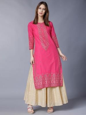 Vishudh Women Printed Straight Kurta(Pink)