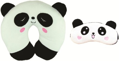 Skylofts 100% Cotton Panda Neck Pillow For Boys & Girls for Car, Train, Flight, Bus - Microfibre Travel Cushions Neck Pillow(White)