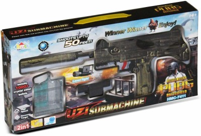 Richuzers PUBG Theme UZI Submachine 2 in 1 Gun Toy Set with 1000+ Crystal Water & Soft Foam Bullet Balls,Target Shooting Role Play Game for Kids Guns & Darts(Multicolor)