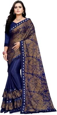 Navya Fashion Printed Fashion Lycra Blend Saree(Blue)