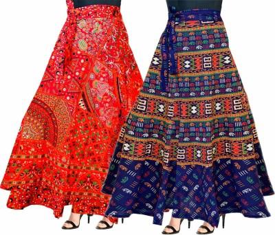 Radhe Collection Printed Women Wrap Around Multicolor Skirt