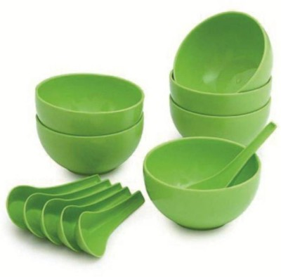 Combika Soup Bowl with Spoon Plastic Soup Bowl(Green, Pack of 12)