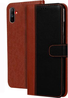Hupshy Flip Cover for Realme C3(Brown, Black)