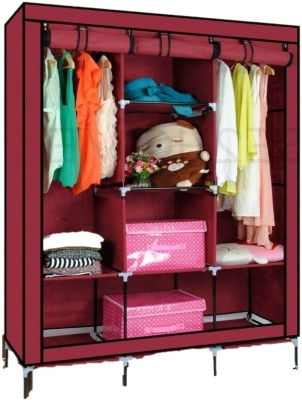 VipAsh advance design-able wardrobe Carbon Steel Collapsible Wardrobe(Finish Color - wine red)