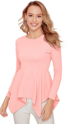 Casual Full Sleeve Solid Women Pink Top