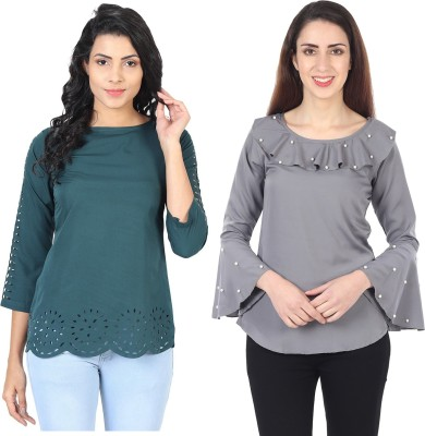 IQRA FASHION Casual Cutout Sleeve Laser Cut, Solid Women Green, Grey Top