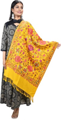 SWI STYLISH Wool Embroidered Women Shawl(Yellow)