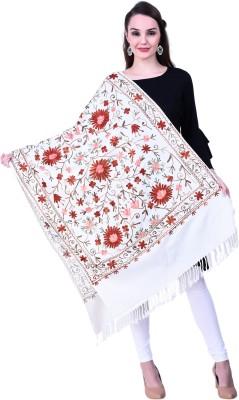 swi stylish Wool Embroidered Women Shawl(White)