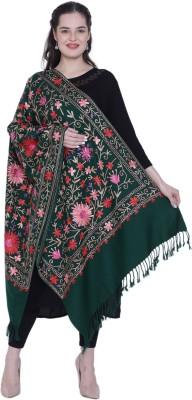 swi stylish Wool Embroidered Women Shawl(Dark Green)