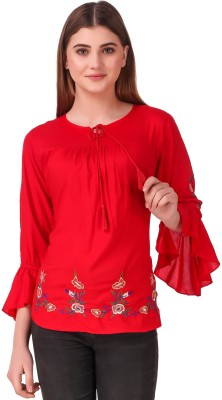 Elyraa Casual Bell Sleeve Embroidered Women Red Top
