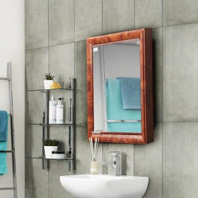 Nilkamal Gem Mirror Plastic Wall Mount Cabinet(Finish Color - Mango wood)