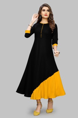LIMESWOOD CREATION Women Maxi Black, Yellow Dress