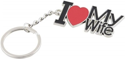 Relicon I Love My Wife (Design-1) Red Heart Black Metal Keychain Special Gift for Couples Car Bike Men Women Keyring Key Chain