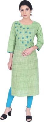 samyash Women Embroidered Straight Kurta(Green)