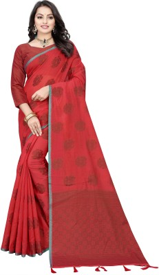 M.S.Retail Woven Chanderi Cotton Silk Saree Red