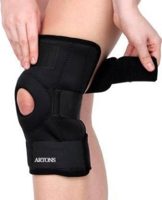 ARTONS FUNCTIONAL KNEE SUPPORT, COMPRESSION MUSCLE JOINT PROTECTION, OPEN PATELLA HINGE Knee Support(Black)