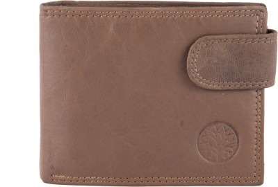 U+N Men Brown Genuine Leather Wallet 6 Card Slots