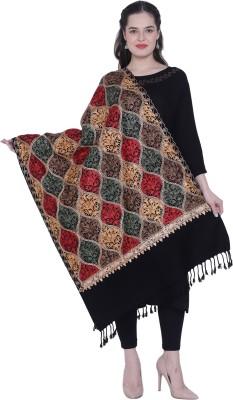 SWI STYLISH Wool Embroidered Women Shawl(Black)