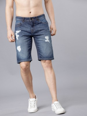 Highlander Washed Men Blue Denim Shorts