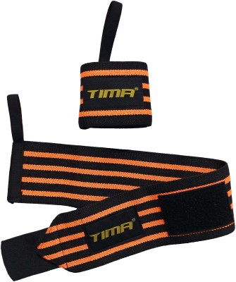 Tima Power Cotton Gym Support with Thumb Support Grip Gloves Wrist Support(Orange, Black)