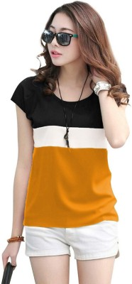 Rebound Casual Cap Sleeve Color Block Women White, Black, Yellow Top
