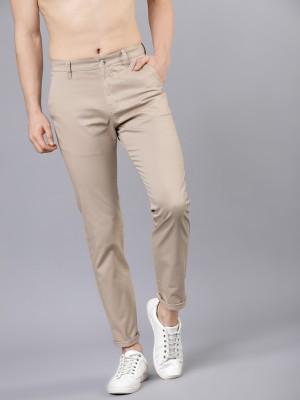 Highlander Slim Fit Men Beige Trousers