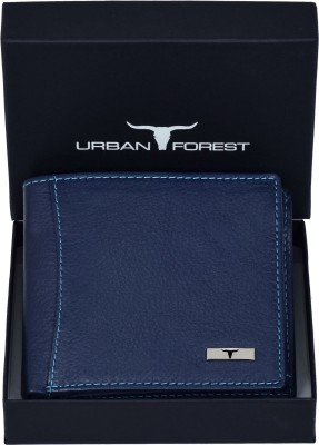 Urban Forest Men Blue Genuine Leather Wallet(6 Card Slots)