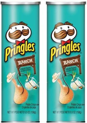 Pringles Ranch Potato Chips 158g (Pack of 2) Chips(2 x 158 g)