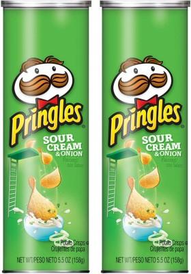 Pringles Sour Cream & Onion Potato Chips 158 g (Pack of 2) Chips(2 x 158 g)