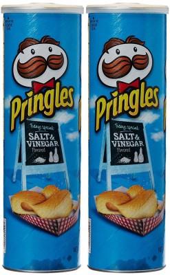 Pringles Salt & Vinegar Potato Crisps, 158g (Pack of 2) Chips(2 x 158 g)