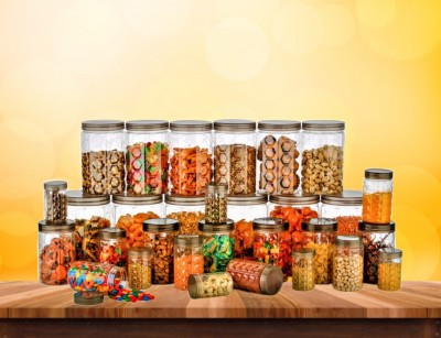 KMT Kitchen Storage Jars & Container Transparent Container Set - 200 ml, 350 ml, 650 ml, 1200 ml, 2000 ml  - 2000 ml, 1200 ml, 650 ml, 350 ml, 200 ml Plastic Grocery Container(Pack of 30, Brown)