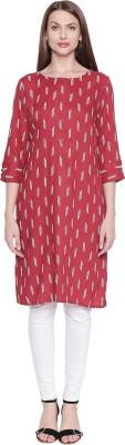 Rangmanch by Pantaloons Women Geometric Print Straight Kurta(Red)