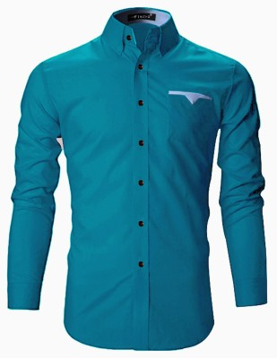 FINIVO FASHION Men Solid Casual Light Blue Shirt