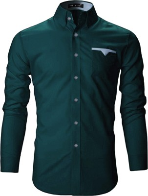 FINIVO FASHION Men Solid Casual Dark Green Shirt