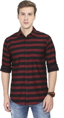 Asian & Fitch Men Striped Casual Red, Black Shirt