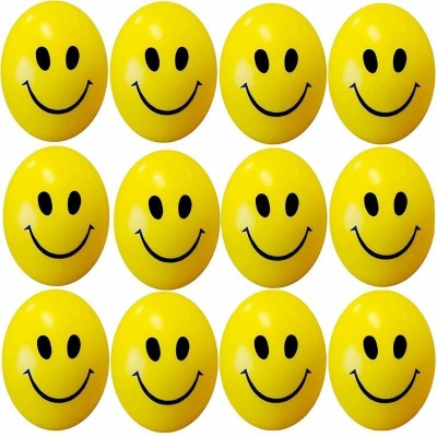 Om Enterprise Smiley Face Squeeze Stress Ball   Set of 12 Pressure Control Balls   6 cm Yellow Om Enterprise Soft Toys