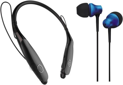 Oxhox Bluetooth Headphone With Wired Earphone Combo Pack Of 2(BLK-BLU) Bluetooth Headset(Black, Blue, Wireless in the ear)