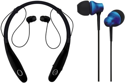 Oxhox Bluetooth Headphone With Wired Earphone Combo Pack Of 2 (BK-BL) Bluetooth Headset(Black, Blue, Wireless in the ear)