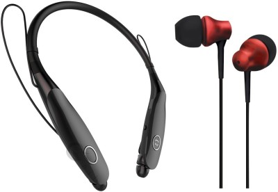 Oxhox Bluetooth Headphone With Wired Earphone Combo Pack Of 2-(BK-RED) Bluetooth Headset(Black, Red, Wireless in the ear)