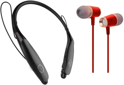 Oxhox Bluetooth Headphone With Wired Earphone Combo Pack Of 2 (BK-RED) Bluetooth Headset(Black, Red, Wireless in the ear)